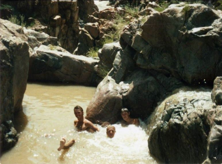 Cooling off in the rivulets of the Cunene River, Epupa Falls, SWA, 1985, Graham Leslie McCallum, Frank Leone, Glen Watson, Military