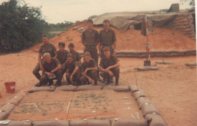 Potgieter, Schwab, Goldstone, De Villiers, Weber, Wessels, Koen, Venter, Platt, 3 SAI, O Coy, 1984 Intake, SADF, Military, 1985