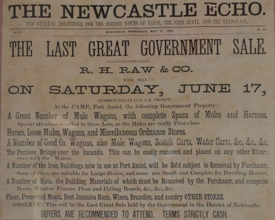 Fort Amiel, Government Sale, The Newcastle Echo, 1882