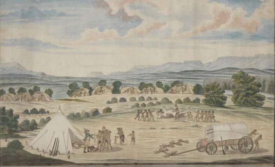 Robert Jacob Gordon, Groene Kloof,  Mamre District, wagon and Hottentots, 1779